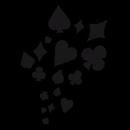 Varias tarjetas de pegatinas, dados, as de espadas, tréboles, corazón, diamantes