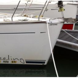 Nome do barco à vela adesivo ou letras luminosas