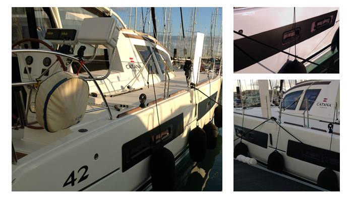 Vitrophanie sur catamaran